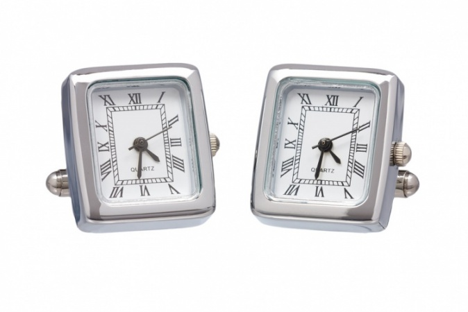 Chrome Working Watch Cufflinks